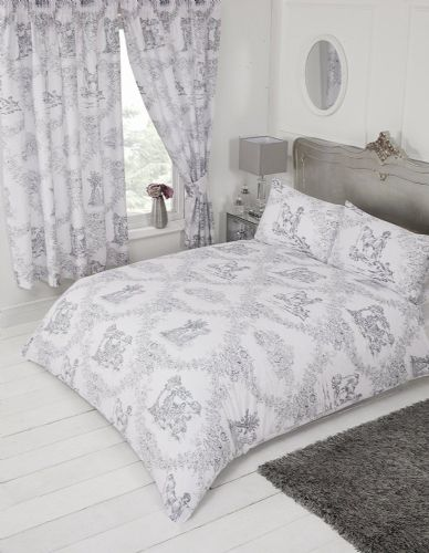 French Country Design Toile De Jouy Bedding Duvet Quilt Cover Set Grey Colour